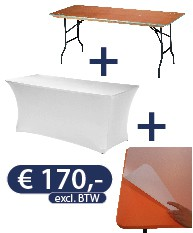 Buffettafel 183x76x76cm - Stretchrok Wit of Zwart - Beschermplaat